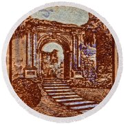 1949 San Francisco Ruins Dominican Republic Stamp Round Beach Towel