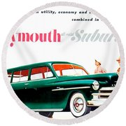 1950 - Plymouth Suburban Station Wagon Automobile Advertisement - Color Round Beach Towel