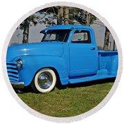 1950 Baby Blue Chevrolet Pu Round Beach Towel
