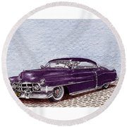 Chopped 1950 Cadillac Coupe De Ville Round Beach Towel