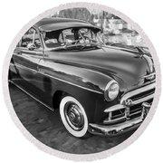 1950 Chevrolet Sedan Deluxe Painted Bw   Round Beach Towel