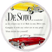 1950 - De Soto Sportsman Convertible - Advertisement - Color Round Beach Towel