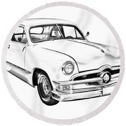 1950  Ford Custom Antique Car Illustration Round Beach Towel