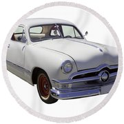 1950 Ford Custom Antique Car Round Beach Towel
