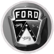1950 Ford Custom Deluxe Station Wagon Emblem Round Beach Towel by Jill Reger