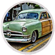 1950 Ford Deluxe Woody Station Wagon Round Beach Towel