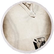 1950 Ford Hood Ornament - Emblem Round Beach Towel