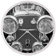 1950 Jaguar Xk120 Roadster Grille -0260bw Round Beach Towel