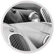 1950 Jaguar Xk120 Roadster Grille 2 Round Beach Towel by Jill Reger