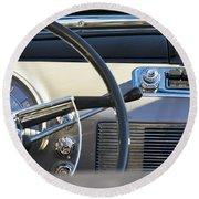 1950 Oldsmobile Rocket 88 Steering Wheel 3 Round Beach Towel