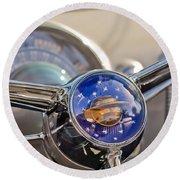 1950 Oldsmobile Rocket 88 Steering Wheel Round Beach Towel by Jill Reger