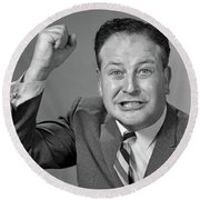 1950s 1960s Portrait Of Angry Man Round Beach Towel