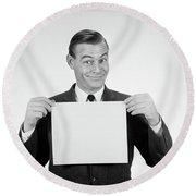 1950s 1960s Smiling Man Funny Facial Round Beach Towel