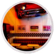 1950s American Diner - Featured In Vehicle Enthusiasts Round Beach Towel