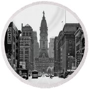 1950s Downtown Philadelphia Pa Usa Round Beach Towel
