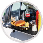 1950's Drive In Movie Snack Tray Round Beach Towel