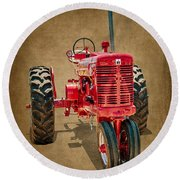 1950s Era International Harvester Tractor E108 Round Beach Towel by Wendell Franks