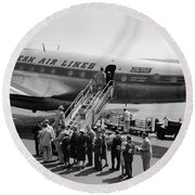 1950s Group Of Passengers Boarding Round Beach Towel by Vintage Images