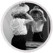 1950s Little Girl Trying On Hat Looking Round Beach Towel
