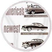 1951 - Kaiser Frazer Manhattan Automobile Advertisement - Color Round Beach Towel