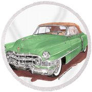 1951 Cadillac Series 62 Convertible Round Beach Towel
