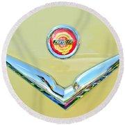1951 Chrysler New Yorker Convertible Emblem Round Beach Towel by Jill Reger