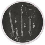 1951 Fender Electric Guitar Patent Artwork - Gray Round Beach Towel