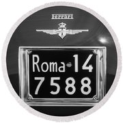 1951 Ferrari 212 Export Berlinetta Rear Emblem - License Plate -0775bw Round Beach Towel