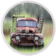 1951 Ford Truck - Found On Road Dead Round Beach Towel