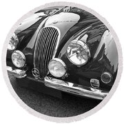 1951 Jaguar Xk120 In Black And White Round Beach Towel