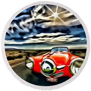 1951 Red Studebaker Round Beach Towel