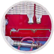 1952 L Model Mack Pumper Fire Truck Hoses Round Beach Towel