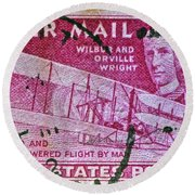 1952 Wright Brothers Stamp Round Beach Towel