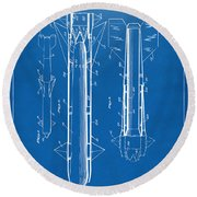 1953 Aerial Missile Patent Blueprint Round Beach Towel
