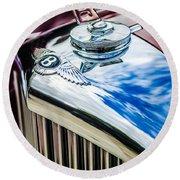 1953 Bentley R-type Hood Ornament - Emblem -0790c Round Beach Towel