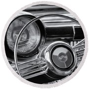 1953 Buick Super Dashboard And Steering Wheel Bw Round Beach Towel