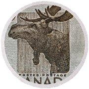 1953 Canada Moose Stamp Round Beach Towel