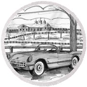 1953 Chevrolet Corvette Round Beach Towel