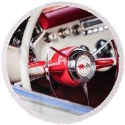 1953 Chevrolet Corvette Steering Wheel Emblem -1400c Round Beach Towel