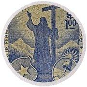 1953 Chile Stamp Round Beach Towel