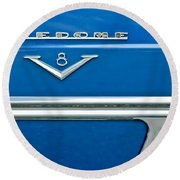 1953 Desoto Firedome Convertible Side Emblem Round Beach Towel