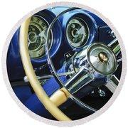 1953 Desoto Firedome Convertible Steering Wheel Emblem Round Beach Towel