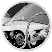 1953 Ferrari 340 Mm Lemans Spyder Steering Wheel Emblem Round Beach Towel