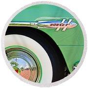 1953 Hudson Hornet Sedan Wheel Emblem Round Beach Towel