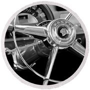 1953 Pontiac Steering Wheel 2 Round Beach Towel