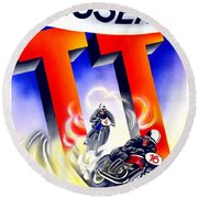1954 - Assen Tt Motorcycle Poster - Color Round Beach Towel