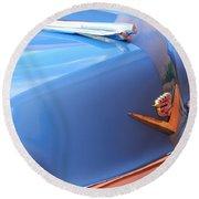 1954 Cadillac Coupe Deville Wheel Emblem - Hood Ornament Round Beach Towel