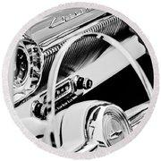 1954 Chevrolet Belair Steering Wheel Emblem -1535bw Round Beach Towel