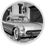 1954 Chevrolet Corvette -183bw Round Beach Towel