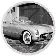 1954 Chevrolet Corvette -203bw Round Beach Towel